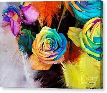 Tie Dyed Roses In Japan Canvas Print by Cheryl McClure