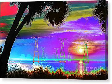 Tie-dyed Sunrise At The Plant Canvas Print by Lynda Dawson-Youngclaus