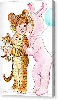 Tiger And Bunny In The Children's Parade Canvas Print