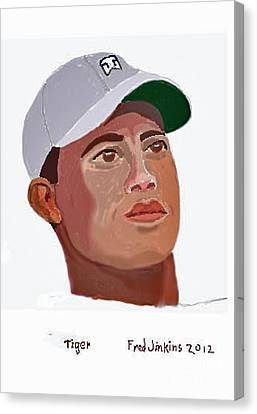 Masters Winners Canvas Print - Tiger Portrait by Fred Jinkins