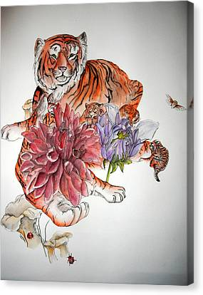 Canvas Print featuring the painting Tigers The Color Of Orange by Debbi Saccomanno Chan
