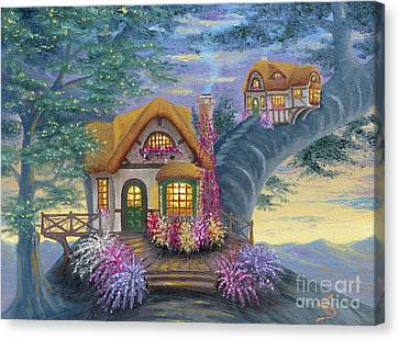 Canvas Print featuring the painting Tig's Cottage From Arboregal by Dumitru Sandru