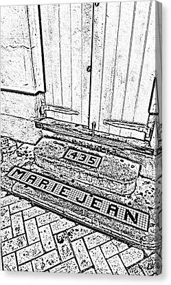 Tile Inlay Steps Marie Jean 435 French Quarter New Orleans Black And White Fresco Digital Art  Canvas Print