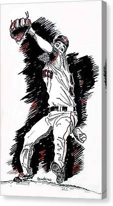 Canvas Print featuring the painting Tim Lincecum by Terry Banderas