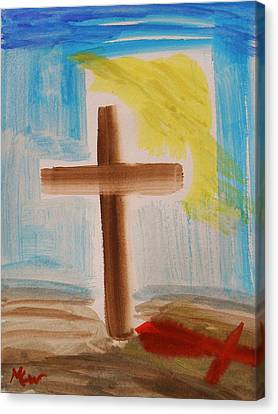 Tim Tebow's Cross-easter Monday Canvas Print by Mary Carol Williams