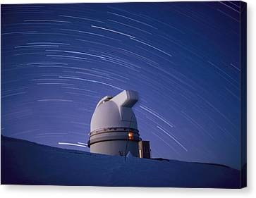 Time-exposure Of The Mauna Kea Canvas Print by Robert Madden