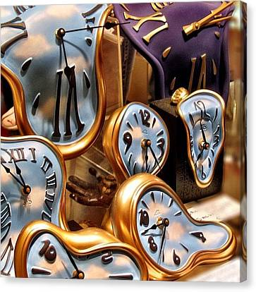 Time Is Melting Away #clocks #clocks Canvas Print by A Rey
