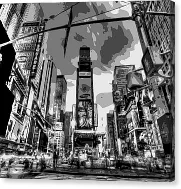 Time Square Bw6 Canvas Print by Scott Kelley