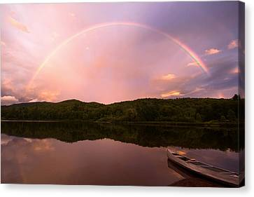 Timing Is Divine Rainbow Over Vermont Mountains Canvas Print by Stephanie McDowell