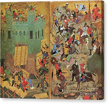 Timur And The Siege Of Smyrna 1402 Canvas Print by Photo Researchers