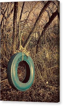 Turquoise And Rust Canvas Print - Tire Swing by Tony Grider