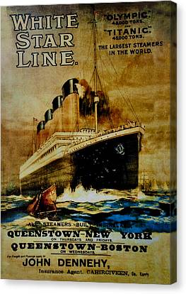 Titanic - White Star Line Canvas Print by Bill Cannon