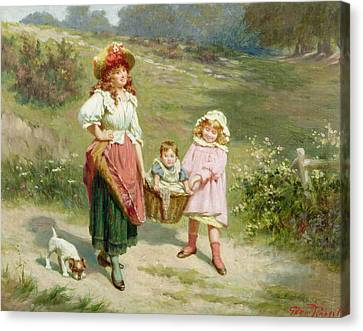 To Market To Buy A Fat Pig Canvas Print by Edwin Thomas Roberts
