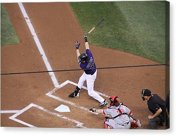 Todd Helton Takes A Swing Canvas Print by Cynthia  Cox Cottam