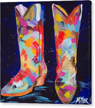 Contemporary Cowgirl Art Canvas Print - Toe Tappin by Tracy Miller