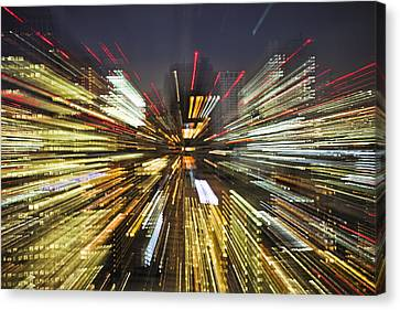 Tokyo Lights At Night A Zoom Effect Canvas Print