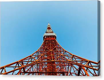 Observer Canvas Print - Tokyo Tower Faces Blue Sky by U Schade