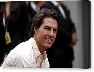 Tom Cruise At The Press Conference Canvas Print by Everett
