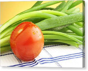 Tomato And Green Onions Canvas Print by Blink Images