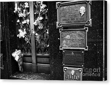 Tomb Of Evita Peron In Recoleta Cemetery Capital Federal Buenos Aires Republic Of Argentina Canvas Print by Joe Fox