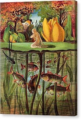 Tommelise Very Desolate On The Water Lily Leaf In 'thumbkinetta'  Canvas Print by Hans Christian Andersen and Eleanor Vere Boyle