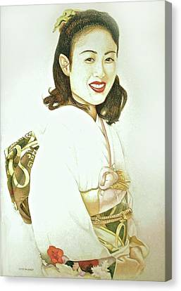 Canvas Print featuring the drawing tomomi in Kimono by Tim Ernst