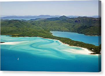 Tongue Point And Whitehaven Beach In Whitsunday Islands National Park, Queensland, Australia Canvas Print by Peter Walton Photography