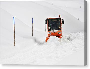 Tons Of Snow - Winter Road Clearance Canvas Print by Matthias Hauser