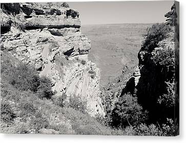 Top Of The South Kaibab Trail Bw Canvas Print by Julie Niemela