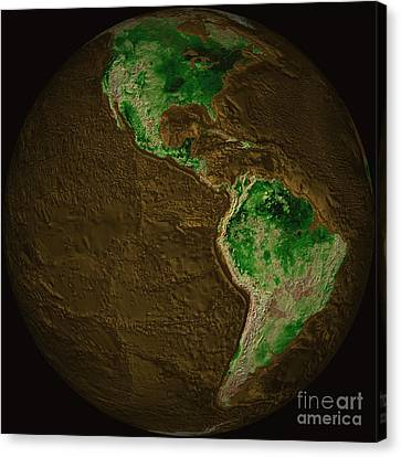 Topographic Map Of Earth Canvas Print by Stocktrek Images