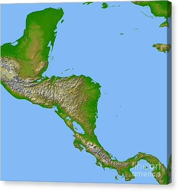 Topographic View Of Central America Canvas Print by Stocktrek Images