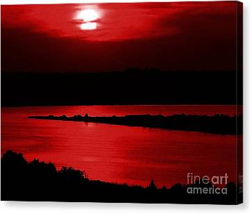 Topsail Island Blood-red Sunset Canvas Print by Julie Dant