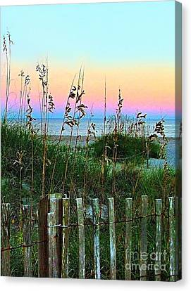 Topsail Island Dunes And Sand Fence Canvas Print by Julie Dant