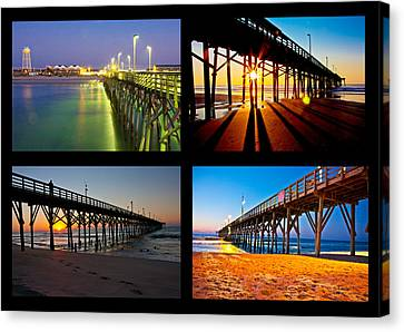 Topsail Piers At Sunrise Canvas Print by Betsy Knapp