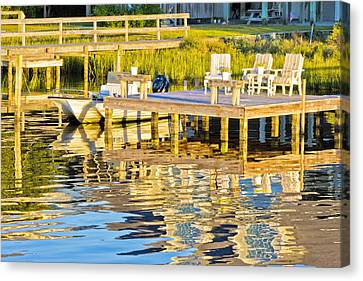 Topsail Island Canvas Print - Topsail Sound At Sunset by Betsy Knapp