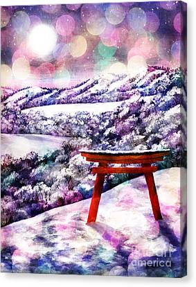 Torii Canvas Print - Torii In Rainbow Snowfall by Laura Iverson