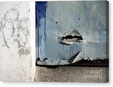 Canvas Print featuring the photograph Torn Metal Shutter by Agnieszka Kubica
