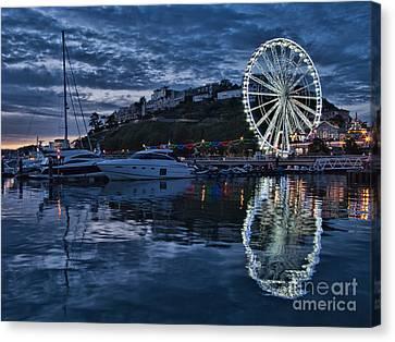 Torquay Marina And The Big Wheel Canvas Print by Ann Garrett