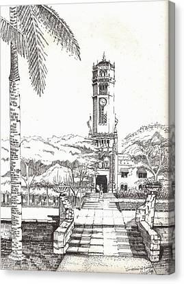 Torre De La Universidad De Puerto Rico Canvas Print by Juan  Salazar