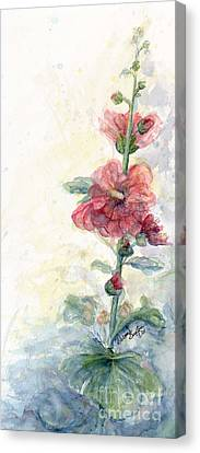Touch Of Summer Hollyhocks Watercolor Canvas Print by CheyAnne Sexton