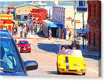 Touring San Fracisco Fishermans Wharf In An Electric Gocar . 7d14100 Canvas Print by Wingsdomain Art and Photography