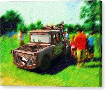 Canvas Print featuring the photograph Tow Mater Live by Mario Carini