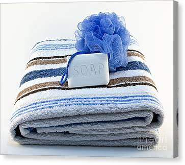 Towel With Soap And Sponge Canvas Print by Blink Images