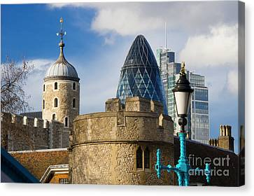 Tower And Gherkin Canvas Print by Donald Davis
