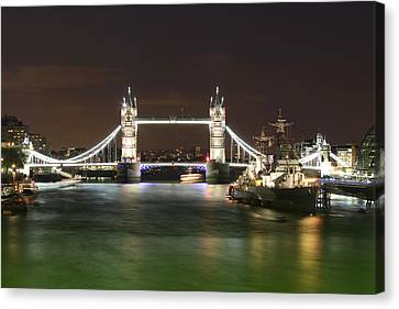 Tower Bridge And Hms Belfast At Night Canvas Print by Jasna Buncic