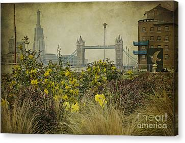 Canvas Print featuring the photograph Tower Bridge In Springtime. by Clare Bambers