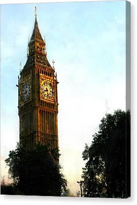 Tower Clock Canvas Print by Susan Holsan