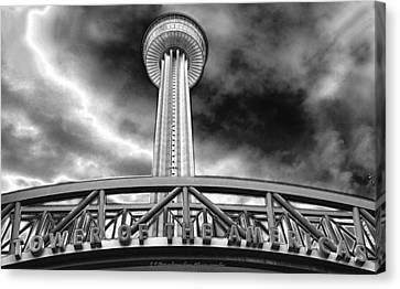 Tower Of The Americas San Antonio In Chrome Canvas Print