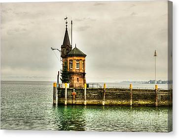 Tower On Lake Canvas Print by Syed Aqueel