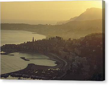 Town Of Menton, France Canvas Print by George F. Mobley